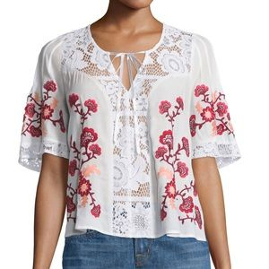 For Love and Lemons Isabella Lace Embroidered Top